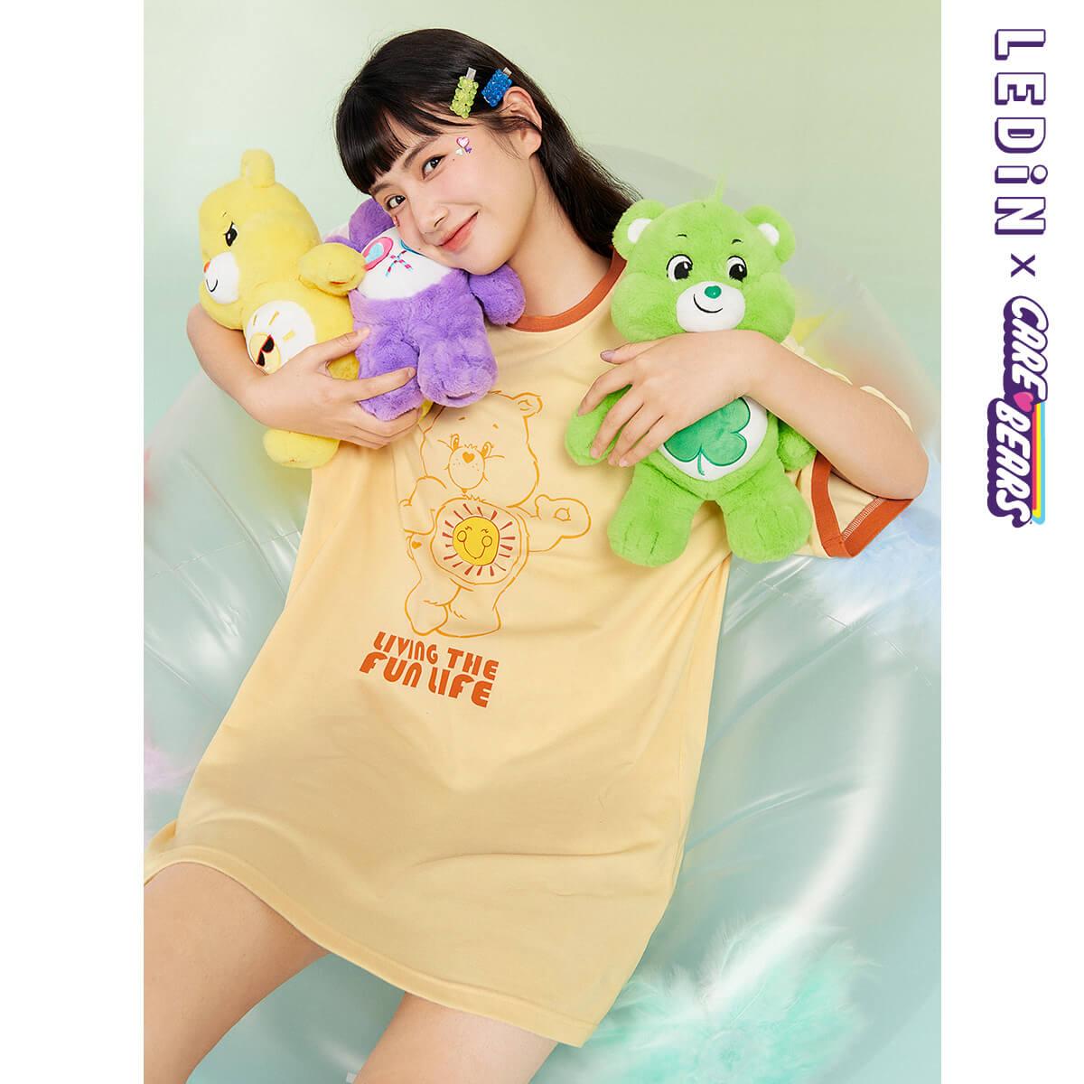 【愛心熊聯名】樂町可愛連衣裙2021早春少女心俏皮印花T卹連衣裙