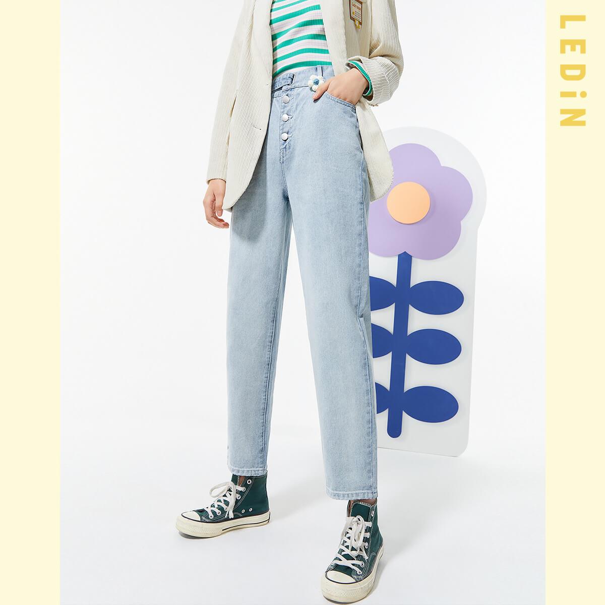直筒牛仔褲女2021年春季新款褲子女裝童趣花花牛仔褲寬鬆